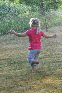 Running through the sprinkler