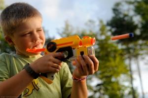 Shooting the Nerf gun